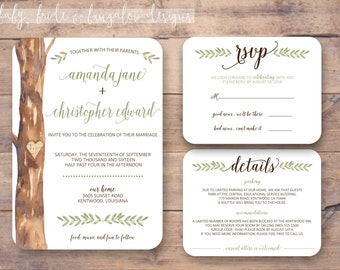 Rustic watercolor tree wedding invite set: Printable