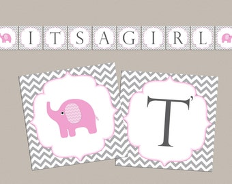 Girl Baby shower banner Its a girl baby shower decorations baby shower banner elephant baby shower banner (82v)