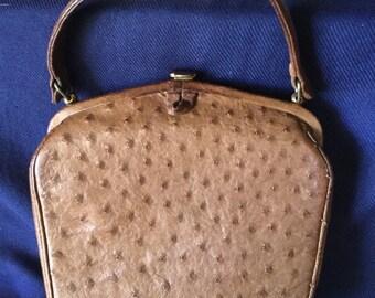 Stunning Vintage Ostrich Skin 1940's Handbag