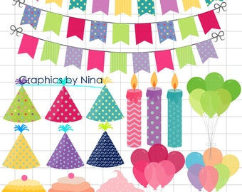 INSTANT DOWLOAD   Happy Birthday Clipart Birthday party clipart Scrapbook for Personal and Commercial Use