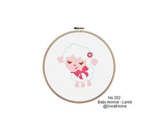 C2C crochet Graph, Small,PDF instant download, Baby Sheep Cross Stitch Chart Pattern, No.202