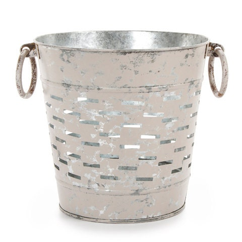 Hand Painted Distressed Zinc Olive Bucket Rustic Home Decor