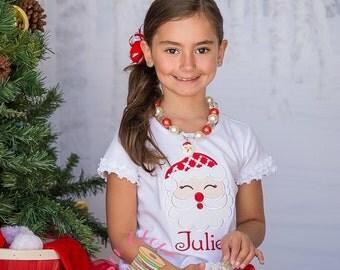 Christmas Holiday Santa Believe in Magic Applique T-Shirt - Girls Applique Holiday Shirt Winter Shirt