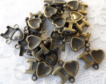"Vintage gold plate brass stamped ""I luv"" charm,1/2"",20pcs-CHM184"