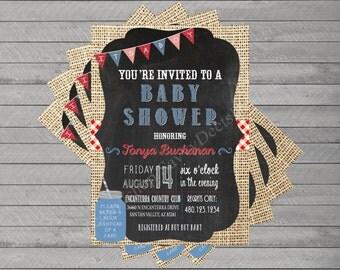 Burlap Denim Gingham Baby Shower Printable Invite - Country Western Baby shower Invite - Digital File - DIY Printable