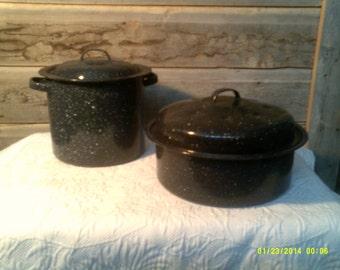 Two Vintage Navy Graniteware Pots with Lids, Small Steamer Pot, Enamelware Pot, Enameled Cooking Pot, Blue Enamelware, Lidded Pot, Stock Pot