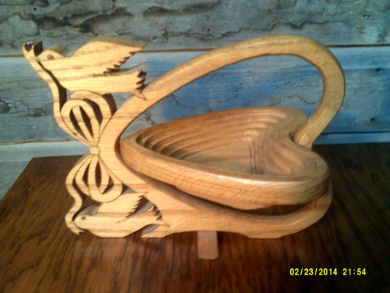 Handmade Collapsible Wooden Baskets : Vintage handmade wooden folding basket heart