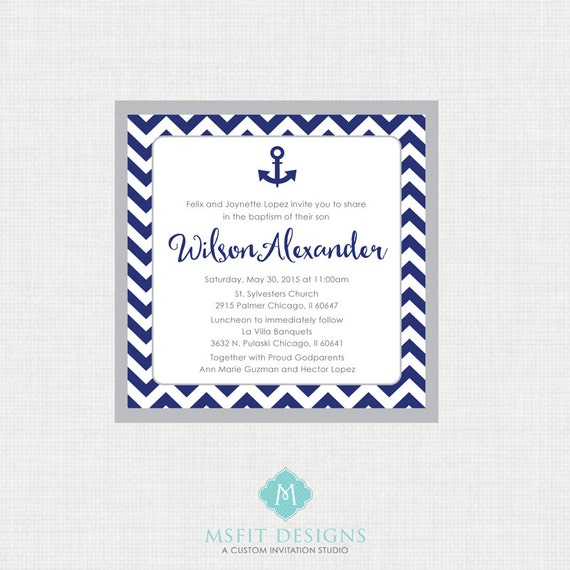 Printable Baptism Invitation- Nautical Baptism Invitation - Anchor Baby Invitations - Dedication, First Communion, Confirmation, Christening