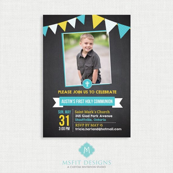 Chalkboard  Baptism Invitation- Boy Baptism Invitation - Baby Dedication, First Communion, Confirmation, Christening - Bunting