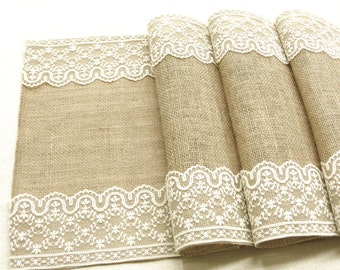 Rustic wedding Burlap table runner wedding table runner with vintage ivory Italian lace wedding decor , handmade in the USA