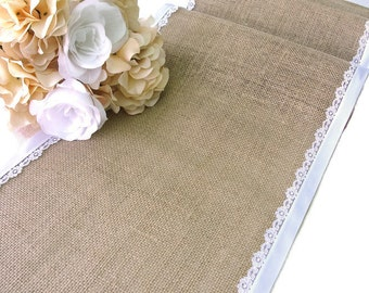 Burlap table runner wedding table runner with vintage inspired white italian lace rustic romantic wedding decor , handmade in the USA