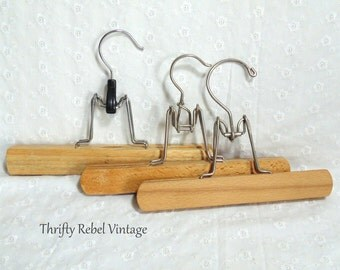 3 Vintage Wooden Pant Hangers