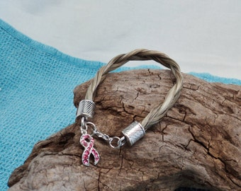Shades of Gray Horsehair Breast Cancer Awareness Bracelet wih Silvertoned End Caps and Lobster Claw Closure
