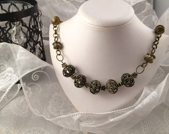 Chain Necklace, brass-tone chain and ornate findings
