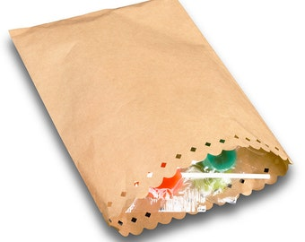 Brown Paper Kraft Bags x25 with hole punched pattern edge opening