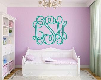 Vine Monogram Decal Wall Decal Wall Monogram Personalized Monogram Nursery Decal Bedroom Decal Dorm Room Decal Vinyl Wall Decal Monogram