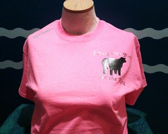 livestock t-shirt - heifer cow shirt - I bring bling to the ring - gliter vinyl heifer cow shirt