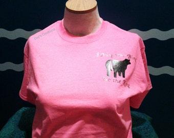 livestock t-shirt - heifer cow shirt - I bring bling to the ring - gliter vinyl heifer cow shirt