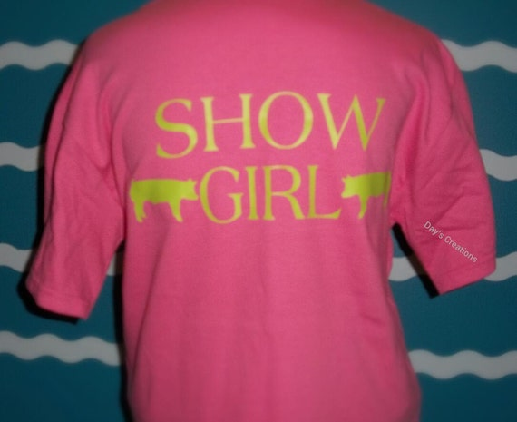 Youth Hog show girl t-shirt - monogrammed pig t-shirt - livestock hog show girl shirt