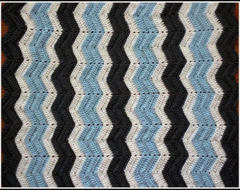 Handmade Crochet Charcoal Gray, Baby Blue and White Baby Blanket