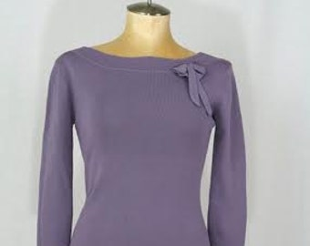 PRIM n PROPER Rockabilly Pinup Boatneck Top with side Bow Long Sleeve Pinup Girl Clothing Size Small SUB113