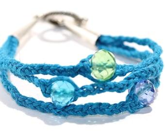 Wave Rider Blue Hemp Bracelet