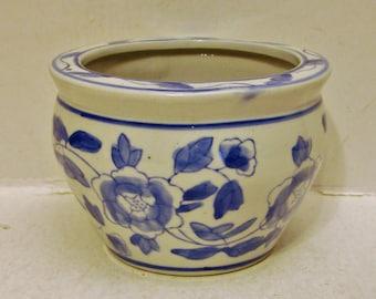 Blue and White Floral Ceramic Planter