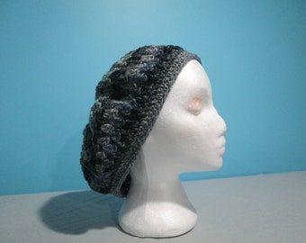 Black and Grey Slouchy Hat, Boho, Hair Covering Beanie, Tam, Fall Accessory for Teens or Women, Multi-toned