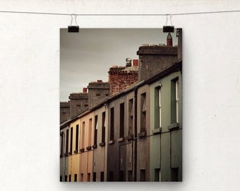 Rainbow Architecture Photo Print, Colourful Row Houses, Ireland