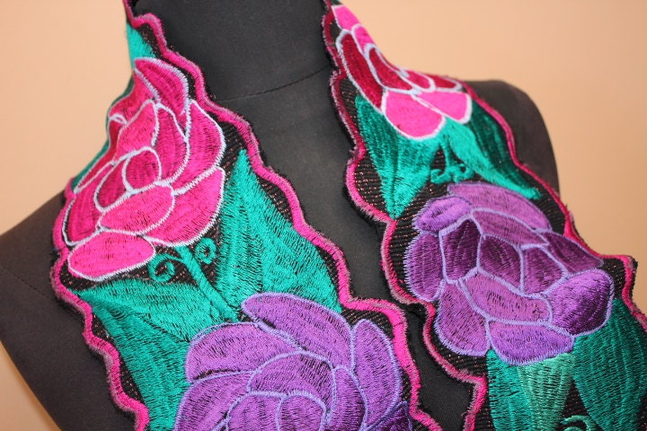 Mexican machine embroidered belt with colorful by ranchoalpino