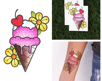 Scoop, There it Is - Ice Cream Temporary Tattoo (Set of 2)