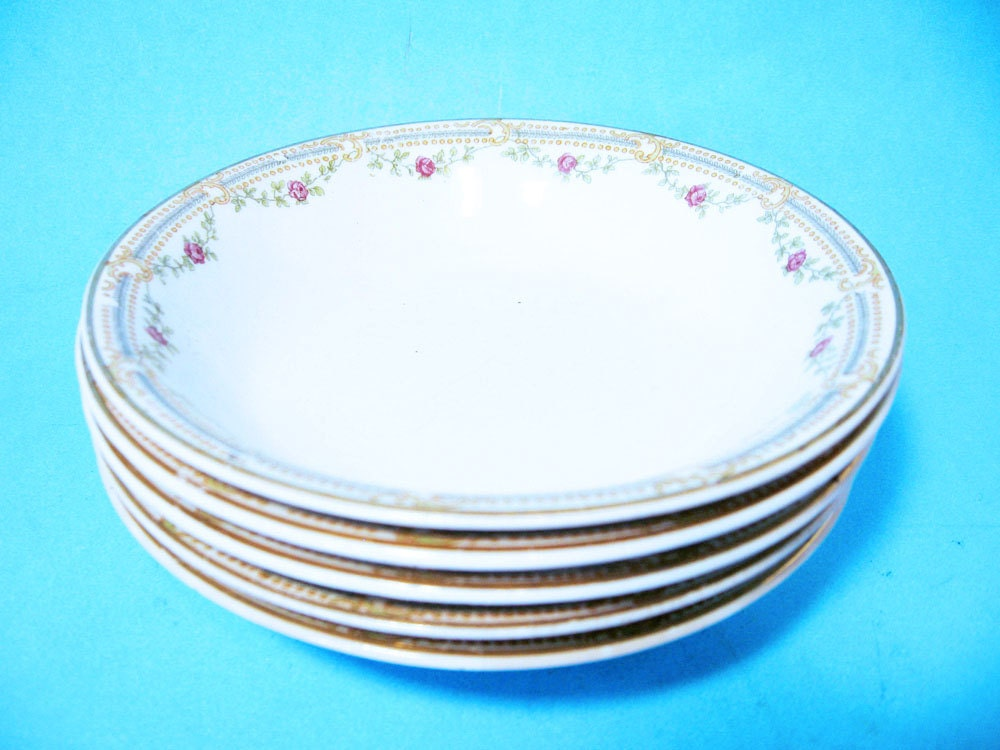 5 Berry Bowls with Rose Garland,Edwin M.Knowles China Co, set of 5 ...