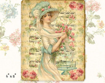 Vintage Victorian Lady Aqua Hat with Roses Digital Image Collage Sheet Instant Download