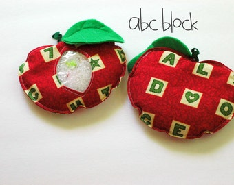 SALE Back-to-School Apple red ABC's I Spy bag, bean bag for games