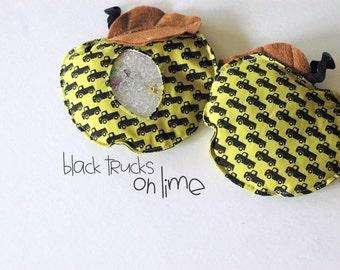 SALE Back-to-School Apple black trucks on Lime  I Spy bag, bean bag for games
