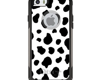 OtterBox Commuter for Apple iPhone 5S SE 5C 6 6S 7 8 PLUS X 10 - Custom Monogram - Any Colors - Black White Cow Dalmatian Spots