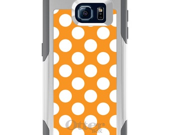 OtterBox Commuter for Galaxy S4 / S5 / S6 / S7 / S8 / S8+ / Note 4 5 8 - CUSTOM Monogram - Any Colors - White & Orange Polka Dots