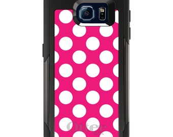 OtterBox Commuter for Galaxy S4 / S5 / S6 / S7 / S8 / S8+ / Note 4 5 8 - CUSTOM Monogram - Any Colors - White & Hot Pink Polka Dots