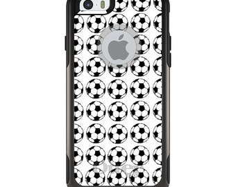 OtterBox Commuter for Apple iPhone 5S SE 5C 6 6S 7 8 PLUS X 10 - Custom Monogram - Any Colors - Soccer Balls Drawing