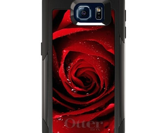 OtterBox Commuter for Galaxy S4 / S5 / S6 / S7 / S8 / S8+ / Note 4 / 5 - CUSTOM Monogram - Any Colors - Dew Covered Red Rose
