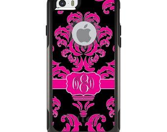 OtterBox Commuter for Apple iPhone 5S SE 5C 6 6S 7 8 PLUS X 10 - Custom Monogram or Image - Hot Pink Black White Damask Ribbon