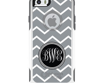 OtterBox Commuter for Apple iPhone 5S SE 5C 6 6S 7 8 PLUS X 10 - Custom Monogram or Image - Gray White Chevron Initials