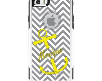 OtterBox Commuter for Apple iPhone 5S SE 5C 6 6S 7 8 PLUS X 10 - Custom Monogram or Image - Gray White Chevron Yellow Anchor
