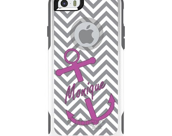 OtterBox Commuter for Apple iPhone 5S SE 5C 6 6S 7 8 PLUS X 10 - Custom Monogram or Image - Gray White Chevron Pink Anchor
