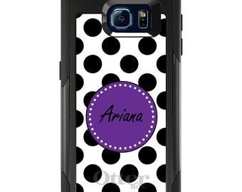OtterBox Commuter for Galaxy S4 / S5 / S6 / S7 / S8 / S8+ / Note 4 5 8 - CUSTOM Monogram Name Initials - Black White Purple Polka Dots