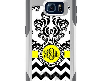 OtterBox Commuter for Galaxy S4 / S5 / S6 / S7 / S8 / S8+ / Note 4 5 8 - CUSTOM Monogram Name Initials - Black White Yellow Damask Chevron