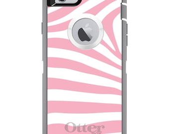CUSTOM OtterBox Defender Case for Apple iPhone 6 6S 7 8 PLUS X 10 - Personalized Monogram - Pink & White Zebra Skin Stripes