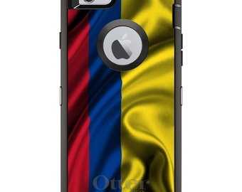 CUSTOM OtterBox Defender Case for Apple iPhone 6 6S 7 8 PLUS X 10 - Personalized Monogram - Colombia Waving Flag