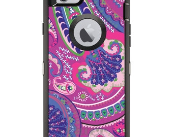 CUSTOM OtterBox Defender Case for Apple iPhone 6 6S 7 8 PLUS X 10 - Personalized Monogram - Pink Purple Green Paisley