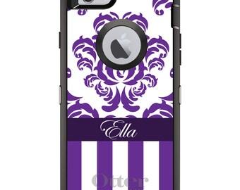 CUSTOM OtterBox Defender Case for Apple iPhone 6 6S 7 8 PLUS X 10 - Personalized Monogram - Purple White Damask Stripes
